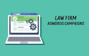 Law firm Adwords campaigns. Graphic shoing computer